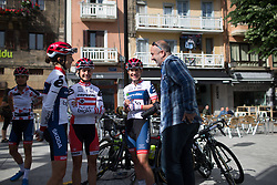 Cervélo-Bigla Cycling Team riders chat before sign-on before Stage 5 of the Emakumeen Bira - a 95.2 km road race, starting and finishing in Errenteria on May 21, 2017, in Basque Country, Spain. (Photo by Balint Hamvas/Velofocus)