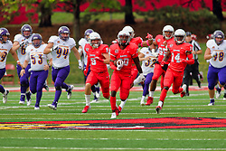 NORMAL, IL - October 06: Willie Edwards recovers a blocked extra point attempt by the Leathernecks and returns it for a safety during a college football game between the ISU (Illinois State University) Redbirds and the Western Illinois Leathernecks on October 06 2018 at Hancock Stadium in Normal, IL. (Photo by Alan Look)