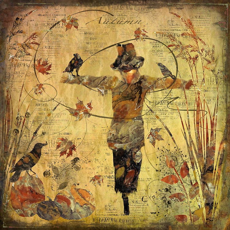 Autumn colored scarecrow, pumpkins, grasses and swirling leaves