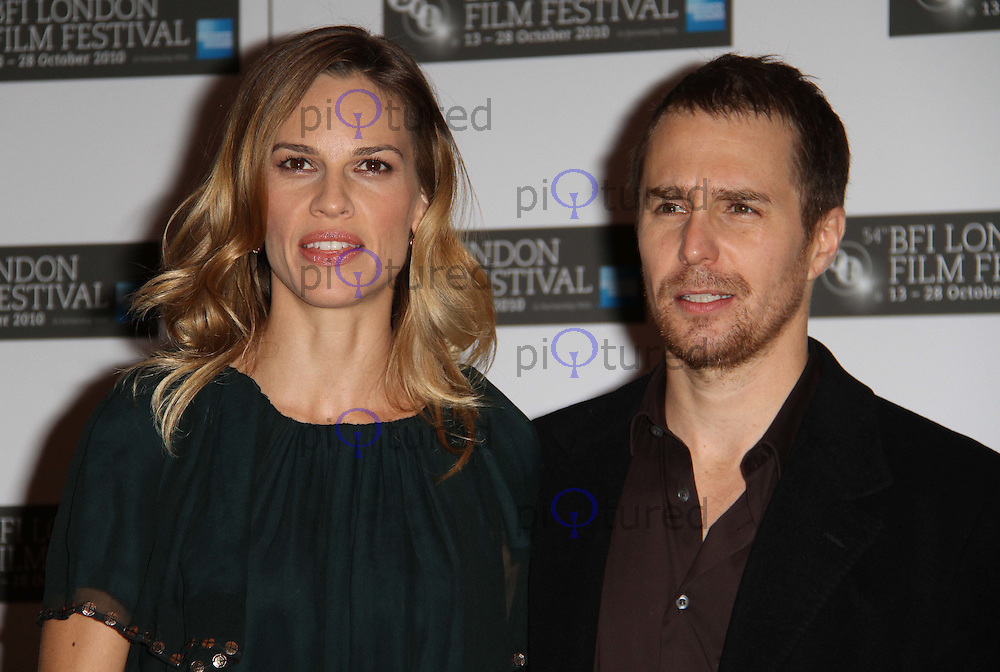 Hilary Swank; Sam Rockwell Conviction Photocall BFI London Film Festival, Vue Cinema, Leicester Square, London, UK, 15 October  2010:  For piQtured Sales contact: Ian@Piqtured.com +44(0)791 626 2580 (Picture by Richard Goldschmidt)