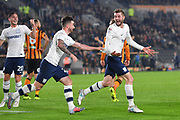Preston North End forward Tom Barkhuizen (29) celebrates scoring goal with Preston North End forward Sean Maguire (24) to go 0-1  during the EFL Sky Bet Championship match between Hull City and Preston North End at the KCOM Stadium, Kingston upon Hull, England on 26 September 2017. Photo by Ian Lyall.