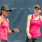 August 20, 2016, New Haven, Connecticut: <br /> Samantha Galu and Courtney Kowalsky in action during a US Open National Playoffs match at the 2016 Connecticut Open at the Yale University Tennis Center on Saturday, August  20, 2016 in New Haven, Connecticut. <br /> (Photo by Billie Weiss/Connecticut Open)