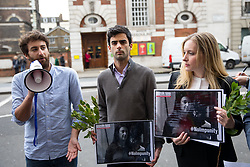 © Licensed to London News Pictures. 16/04/2018. London, UK. Matthew Caruana Galizia (left), Paul Caruana Galizia (centre) and the UK Bureau Director of Reporters Without Borders, Rebecca Vincent (right) speak at a vigil outside the Malta High Commission to mark the six month anniversary of the murder of Matthew and Paul's mother, Maltese journalist Daphne Caruana Galizia. It is believed she was murdered due to her work as an investigative journalist. Demonstrators held bay leaves, as the name 'Daphne' is the personification of the laurel in Greek mythology. Photo credit : Tom Nicholson/LNP