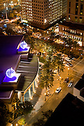 night aerial view of Harrah's Casino and surrounding building, hotels in downtown New Orleans, Louisiana