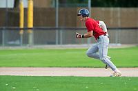 KELOWNA, BC - JULY 16: Dalton Harum #4 of the Wenatchee Applesox runs for third base against the the Kelowna Falcons at Elks Stadium on July 16, 2019 in Kelowna, Canada. (Photo by Marissa Baecker/Shoot the Breeze)