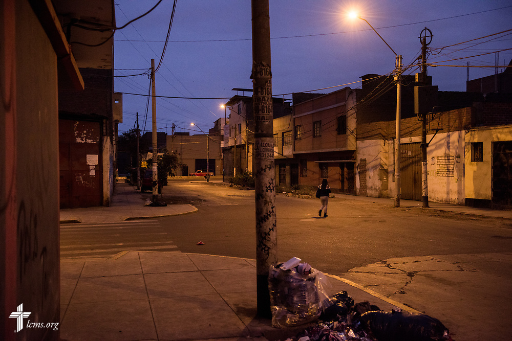 The neighborhood at dusk outside Castillo Fuerte on Saturday, Nov. 4, 2017, in the La Victoria district of Lima, Peru. LCMS Communications/Erik M. Lunsford