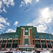 Two F-16s flyover Lambeau Field prior to the start of a college football game between Wisconsin and LSU, Saturday, Sept. 3, 2016, in Green Bay, Wis.  (Photo/Matt Ludtke)