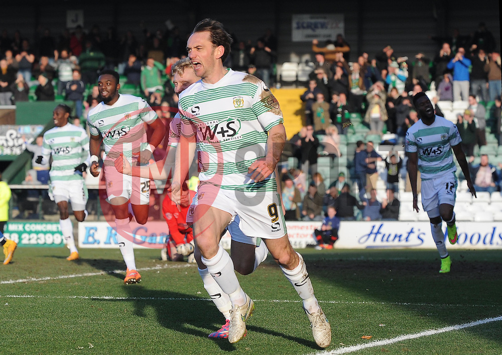 Yeovil Town's James Hayter celebrates his sides goal   - Photo mandatory by-line: Harry Trump/JMP - Mobile: 07966 386802 - 07/03/15 - SPORT - Football - Sky Bet League One - Yeovil Town v Oldham Athletic - Huish Park, Yeovil, England.