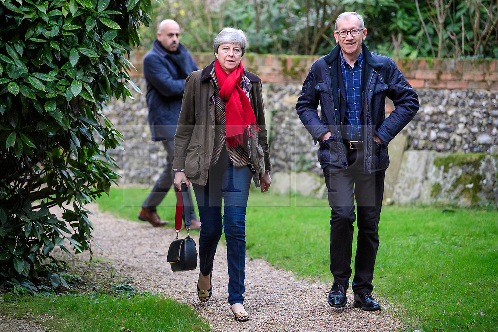 © Licensed to London News Pictures. 26/11/2017.  British prime minister THERESA MAY attends a morning church service with her husband PHILIP MAY, near her constituency home. Photo credit: Ben Cawthra/LNP