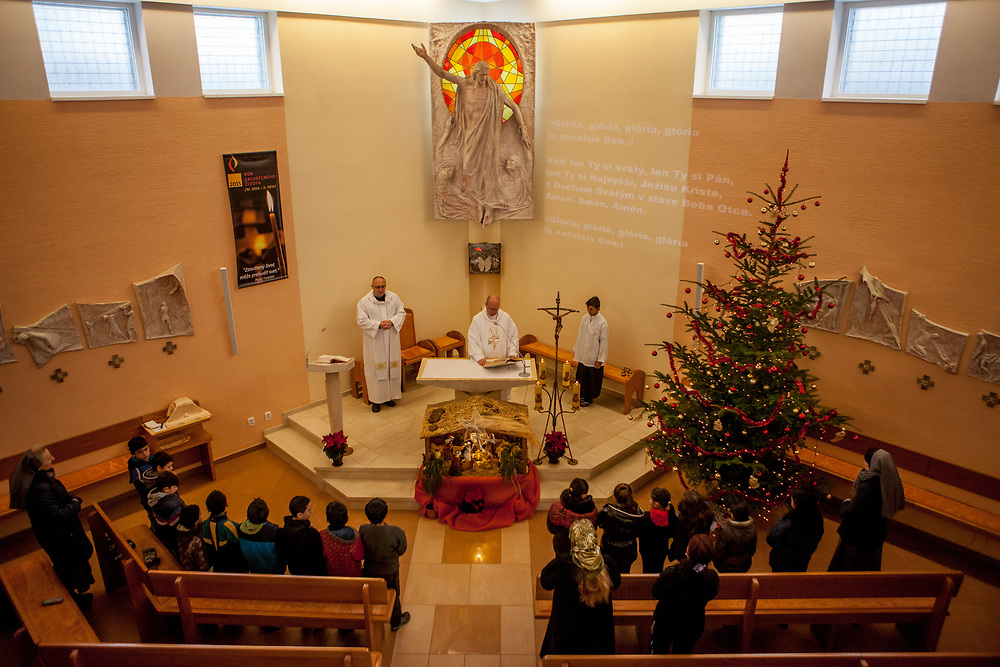 Church service at the pastoral centre of the Salesians of Don Bosco mission in Lunik IX in Kosice. The Lunik IX housing estate is home to the largest Roma community in Slovakia. It is located a few kilometers away from the historical city centre, on the outskirts of the eastern Slovakian city of Kosice. Since the beginning of the 1980s a large number of the Roma residents living in the city and in nearby settlements have been moved to Lunik IX.