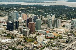 North America, United States, Washington, Bellevue, downtown Bellevue and Lake Washington (aerial view)