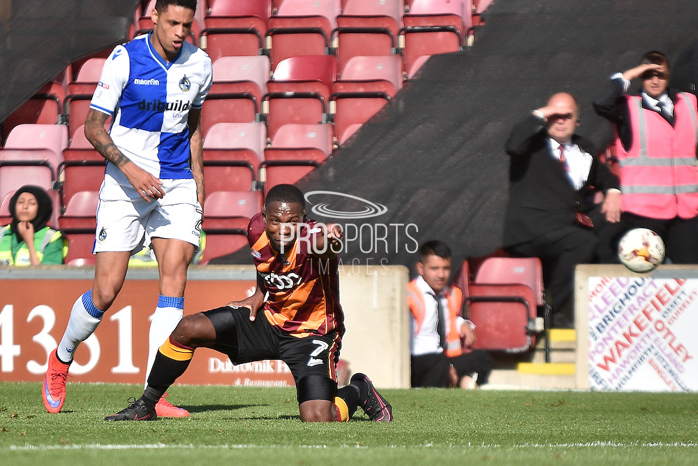 Bristol Rovers  midfielder Lee Mansell (7)  and Bradford City Defender, Stephen Darby (2) during the EFL Sky Bet League 1 match between Bradford City and Bristol Rovers at the Coral Windows Stadium, Bradford, England on 17 September 2016. Photo by Mark Pollitt.