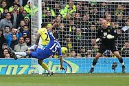 Picture by Paul Chesterton/Focus Images Ltd.  07904 640267.21/01/12.Florent Malouda of Chelsea has a shot on goal during the Barclays Premier League match at Carrow Road Stadium, Norwich.