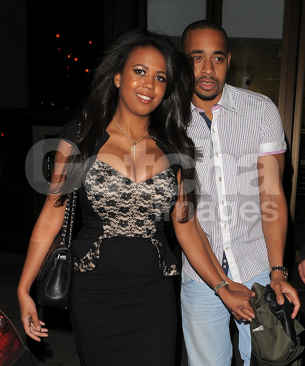 TOWIE star Danni Park-Dempsey wearing a very tight dress at the Novikov restaurant with her new boyfriend. London, UK. 11/05/2013<br />