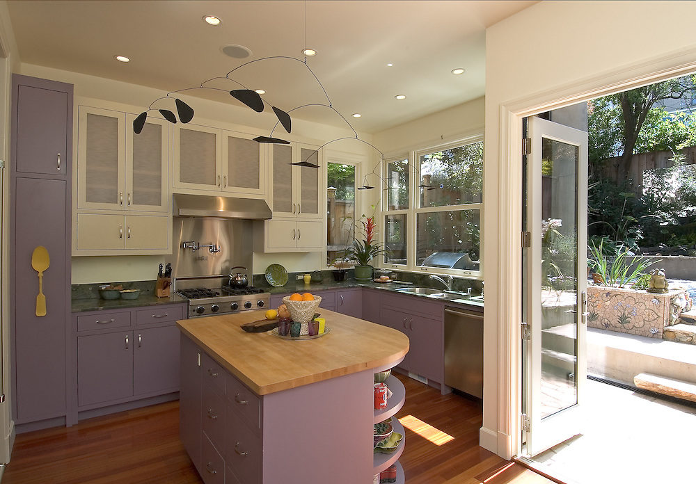 Kitchen interior with purple cabinets
