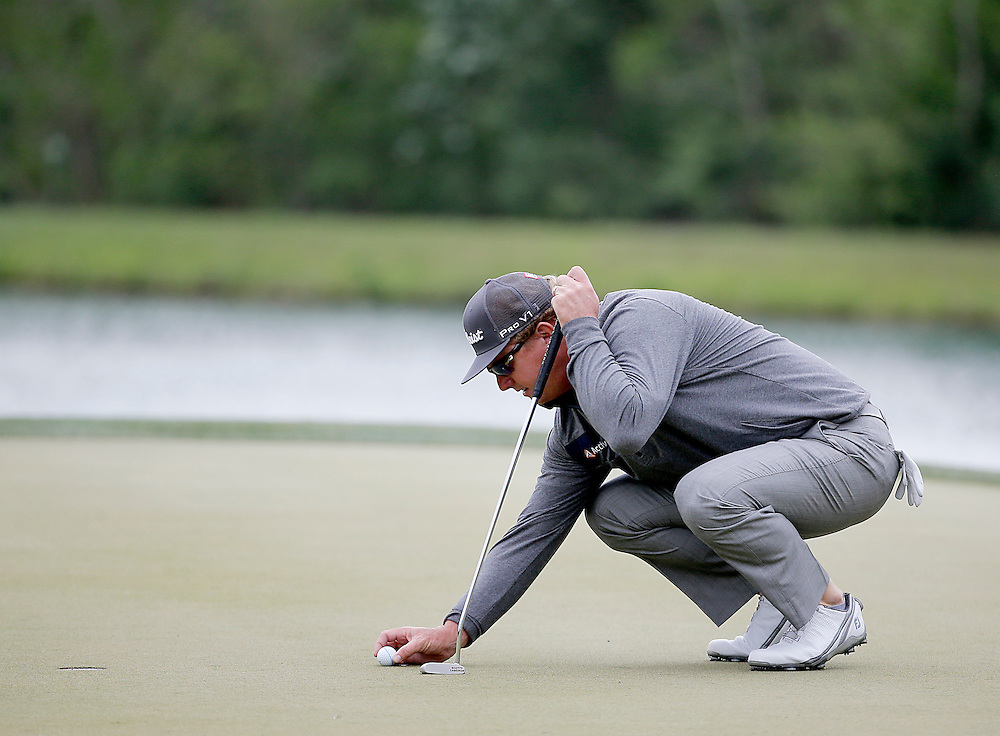Charley Hoffman lines up his putt on the 7th green during the second round of the Shell Houston Open golf tournament at the Golf Club of Houston on , Friday, April 1, 2016, in Humble, Texas.  (Photo: Thomas B. Shea/For the Chronicle)