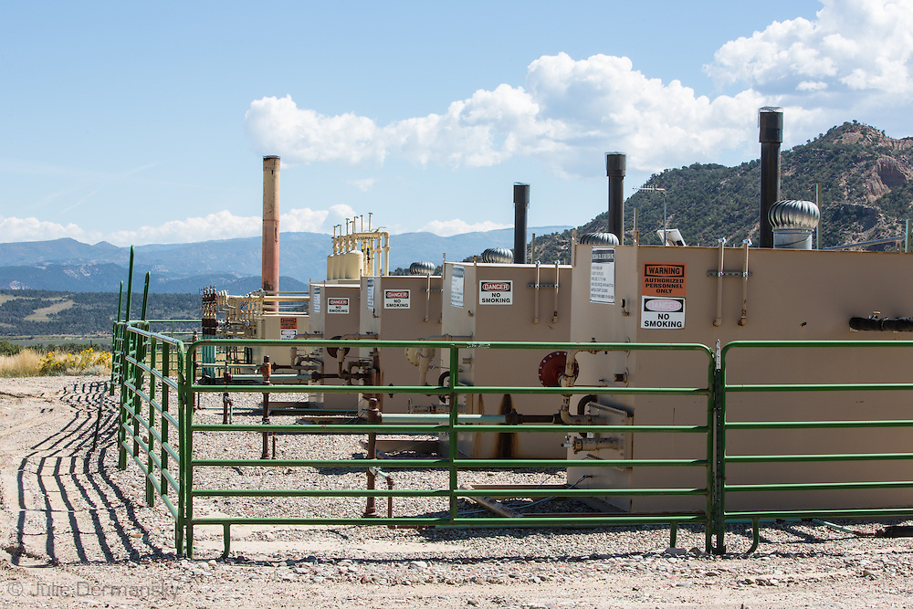 Fracking industry site on Rick Roles land in Garfield County, Colorado. Roles family leased the land to the fracking industry.