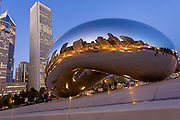 "Millinium Park's Cloud Gate Sculpute, also knows as ""The Bean""  in Chicago Illinios."