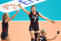 24.09.2011, Hala Pionir, Belgrad, SRB, Europameisterschaft Volleyball Frauen, Vorrunde Pool A, Deutschland (GER) vs. Ukraine (UKR), im Bild Jubel Margareta Kozuch (#14 GER / Sopot POL), Angelina Grün / Gruen (#7 GER / Aachen GER), Kathleen Weiß / Weiss (#2 GER) // during the 2011 CEV European Championship, First round at Hala Pionir, Belgrade, SRB, 2011-09-24. EXPA Pictures © 2011, PhotoCredit: EXPA/ nph/  Kurth       ****** out of GER / CRO  / BEL ******