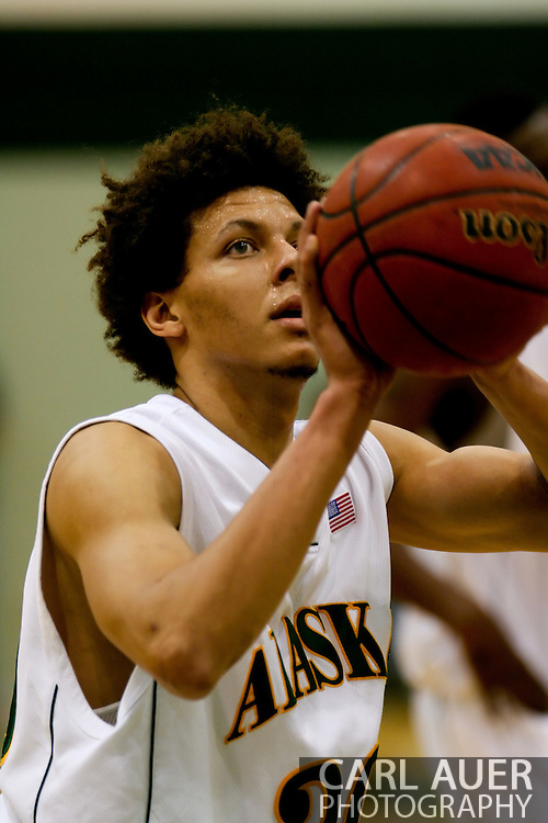 1/13/2006: Sophomore forward Cameron Burney (30) of the UAA Seawolves at the line as Alaska Anchorage comes back to beat Northwest Nazarene, 60-57, in men?s basketball action at the Wells Fargo Sports Complex on Saturday.