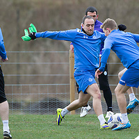 St Johnstone Training.....28.03.14<br /> Lee Croft and David Wotherspoon pictured in training this morning ahead of tomorrow's game against Partick Thistle<br /> Picture by Graeme Hart.<br /> Copyright Perthshire Picture Agency<br /> Tel: 01738 623350  Mobile: 07990 594431