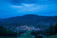 The town of Aspen, Colorado at dusk in the summer.