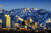 Image of the skyline of Salt Lake City with Wasatch mountains, Utah, American Southwest