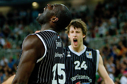 Nathan Jawai  of Partizan and Jan Vesely Veseli of Partizan react during final match of Basketball NLB League at Final four tournament between KK Union Olimpija (SLO) and Partizan Belgrade (SRB), on April 21, 2011 in Arena Stozice, Ljubljana, Slovenia.  (Photo By Vid Ponikvar / Sportida.com)