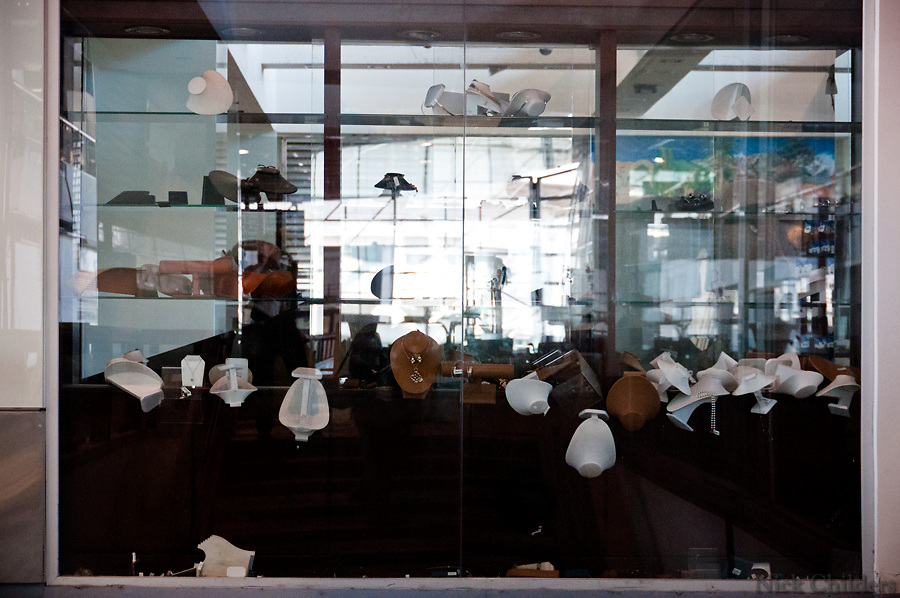 Santiago, Chile 2010<br /> <br /> A jewelry window display at the Arturo Merino Ben&iacute;tez International Airport was still mostly in ruins two weeks after the 7.7 earthquake that struck just outside the capital of Santiago.