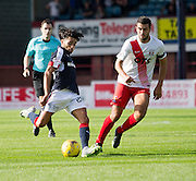 Dundee&rsquo;s Faissal El Bakhtaoui and Kilmarnock&rsquo;s Gary Dicker - Dundee v Kilmarnock in the Ladbrokes Scottish Premiership at Dens Park, Dundee. Photo: David Young<br /> <br />  - &copy; David Young - www.davidyoungphoto.co.uk - email: davidyoungphoto@gmail.com