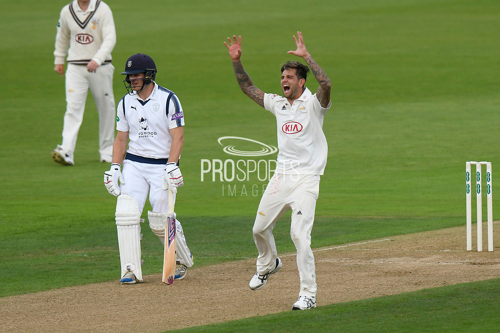 Wicket - Jade Dernbach of Surrey appeals for and lbw against Tom Alsop of Hampshire who is given out during the Specsavers County Champ Div 1 match between Hampshire County Cricket Club and Surrey County Cricket Club at the Ageas Bowl, Southampton, United Kingdom on 6 September 2017. Photo by Graham Hunt.