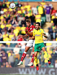 Nathan Baker of Bristol City beats Mario Vrancic of Norwich City to a header - Mandatory by-line: Robbie Stephenson/JMP - 23/09/2017 - FOOTBALL - Carrow Road - Norwich, England - Norwich City v Bristol City - Sky Bet Championship