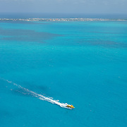 Aerial shot of ferry crossing to  Isla Mujeres, Quintana Roo.MX