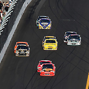 Sprint Cup Series driver Jamie McMurray (1) leads the packs of 2 as they race during the Daytona 500 at Daytona International Speedway on February 20, 2011 in Daytona Beach, Florida. (AP Photo/Alex Menendez)