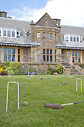The croquet lawn, looking towards the house, Pickwell Manor, Georgeham, North Devon, UK.<br /> CREDIT: Vanessa Berberian for The Wall Street Journal<br /> HOUSESHARE