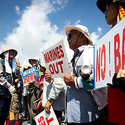 OKINAWA, JAPAN - JUNE 17 : Anti U.S. Base relocation protesters block the gate outside of the Camp Schwab on June 17, 2016 in Nago, Okinawa, Japan. Protests have grown more intense in the past days due to the past incident of rape of a Japanese woman and drunk driving in Okinawa over American military presence in Japan. <br /> Photo: Richard A. de Guzman