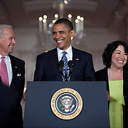 President Obama nominates Federal Appeals Court Judge Sonia Sotomayor as his nominee to the United States Supreme Court in the East Room Tuesday, May 26, 2009.  Also attending is VP Biden...Photo by Khue Bui.