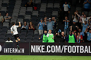 SYDNEY, AUSTRALIA - NOVEMBER 22: Melbourne City midfielder Joshua Brillante (6) celebrates in front of the away fans during the round 7 A-League soccer match between Western Sydney Wanderers FC and Melbourne City FC on November 22, 2019 at Bankwest Stadium in Sydney, Australia. (Photo by Speed Media/Icon Sportswire)