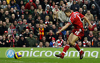 Photo: Paul Thomas.<br /> Liverpool v Sheffield United. The Barclays Premiership. 24/02/2007.<br /> <br /> Steven Gerrard of Liverpool scores.