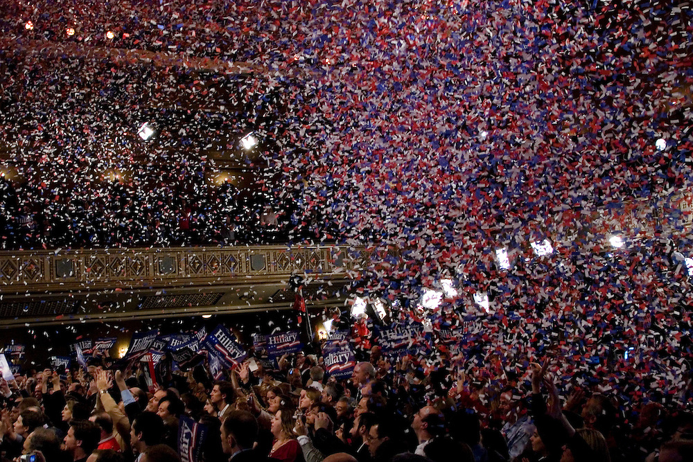 Multicolored confetti rains down on a crowd of cheering supporters after Senator Hillary Clinton (D-NY) made a speech in the Grand Ballroom of the Manhattan Center Studios on Super Tuesday.