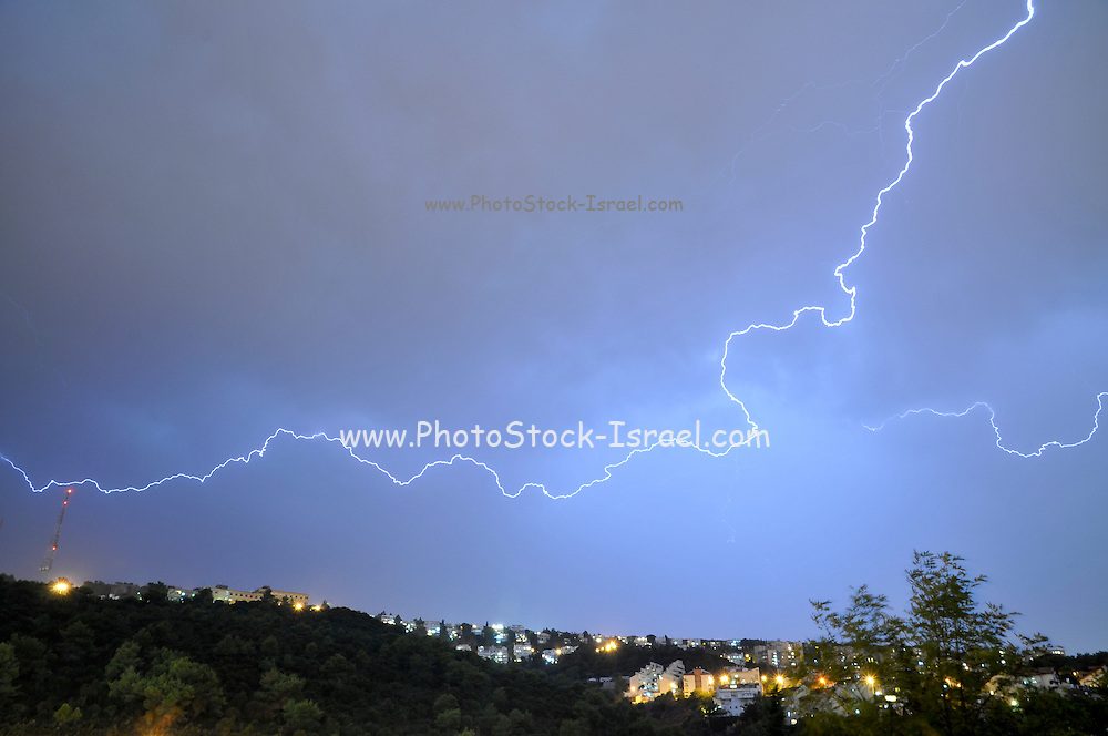 Lightning storm Photographed in Haifa, Israel in November