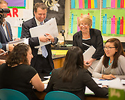 Houston ISD superintendent Dr. Terry Grier tours Ortiz Middle School with members of the Broad Foundation research committee, May 29, 2013.
