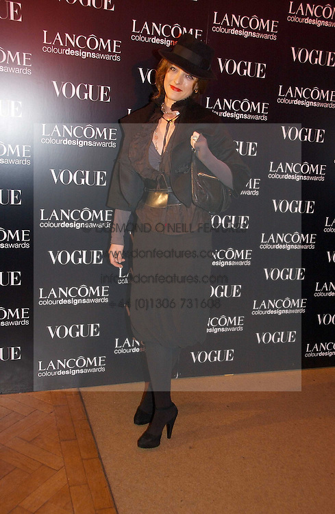 ALICE TEMPERLEY at the 6th annual Lancome Colour Design Awards in association with CLIC Sargent Cancer Care held at Lindley Hall, Victoria, London on 28th November 2006.<br /><br />NON EXCLUSIVE - WORLD RIGHTS