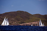 Atrevida and Mariella sailing in the Old Road Race at the 2011 Antigua Classic Yacht Regatta.