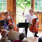 Katherine Kennedy and Eric Dahlin of The Arensky Ensemble performing in the barn at Moffatt-Ladd House in Portsmouth, NH. July 2012