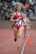 Apr 27, 2018; Philadelphia, PA, USA; Haley Harris runs the third leg on the Indiana women's 4 x 1,500m relay that placed second in 17:41.32 during the 124th Penn Relays at Franklin Field.