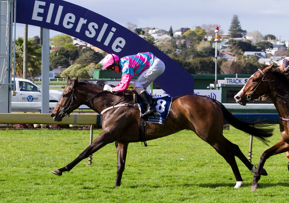 Holy Moly ridden by Vinne Colgan heads to the line to win the Manuka Doctor Soliloquy Stakes, Ellerslie, Auckland, New Zealand, Saturday, September 24, 2011. Credit:SNPA / John Cowpland