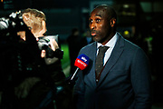 Sol Campbell speaks to Sky Sports before the EFL Sky Bet League 1 match between Burton Albion and Southend United at the Pirelli Stadium, Burton upon Trent, England on 3 December 2019.