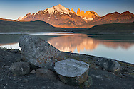 South America; Patagonia; Chile; Región de Magallanes y de la Antártica,Torres del Paine; National Park; UNESCO; World Heritage, first light on the torres