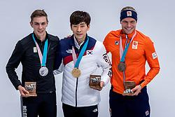 24-02-2018: Olympische Spelen: Dag 15: Pyeongchang<br /> Koen Verweij heeft Nederland op de Winterspelen het brons bezorgd op de massastart. Seung-Hoon Lee uit Zuid-Korea pakt het goud en Bart Swings BEL het zilver